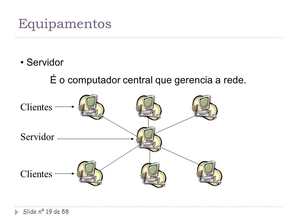 Equipamentos Servidor É o computador central que gerencia a rede.