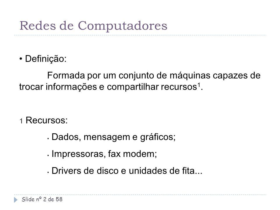 Redes de Computadores Definição: