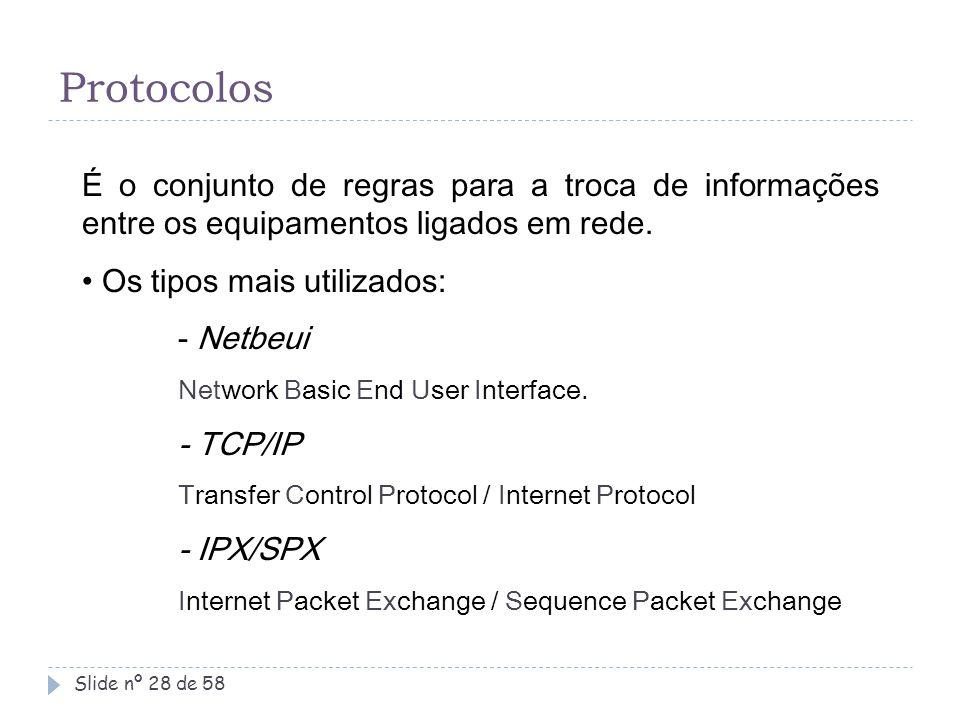 Protocolos É o conjunto de regras para a troca de informações entre os equipamentos ligados em rede.