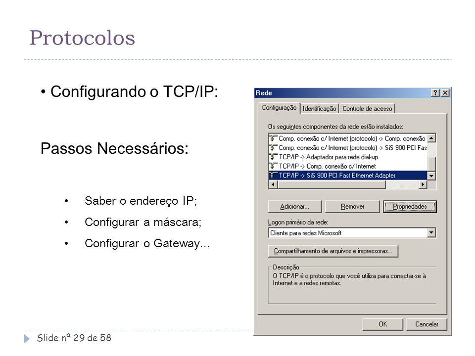 Protocolos Configurando o TCP/IP: Passos Necessários:
