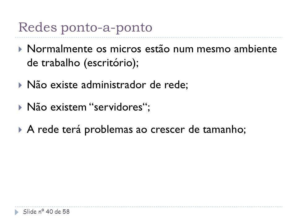 Redes ponto-a-ponto Normalmente os micros estão num mesmo ambiente de trabalho (escritório); Não existe administrador de rede;