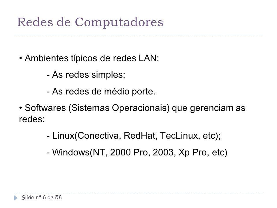 Redes de Computadores Ambientes típicos de redes LAN: