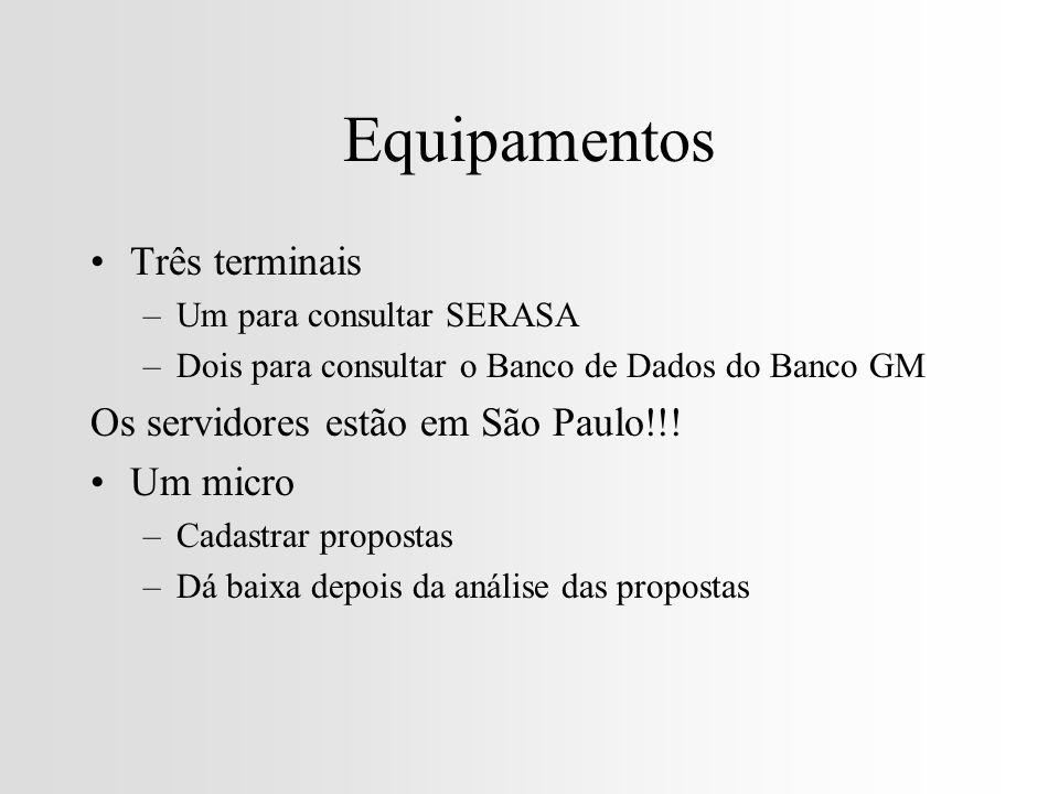 Equipamentos Três terminais Os servidores estão em São Paulo!!!