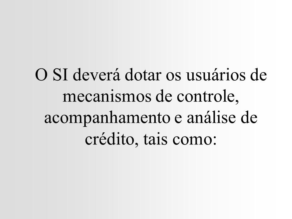 O SI deverá dotar os usuários de mecanismos de controle, acompanhamento e análise de crédito, tais como: