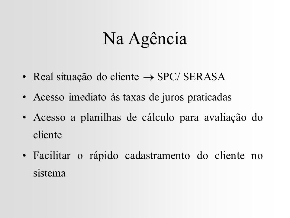 Na Agência Real situação do cliente  SPC/ SERASA