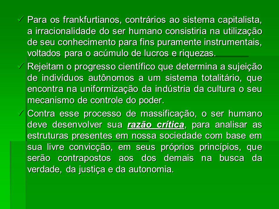 Para os frankfurtianos, contrários ao sistema capitalista, a irracionalidade do ser humano consistiria na utilização de seu conhecimento para fins puramente instrumentais, voltados para o acúmulo de lucros e riquezas.