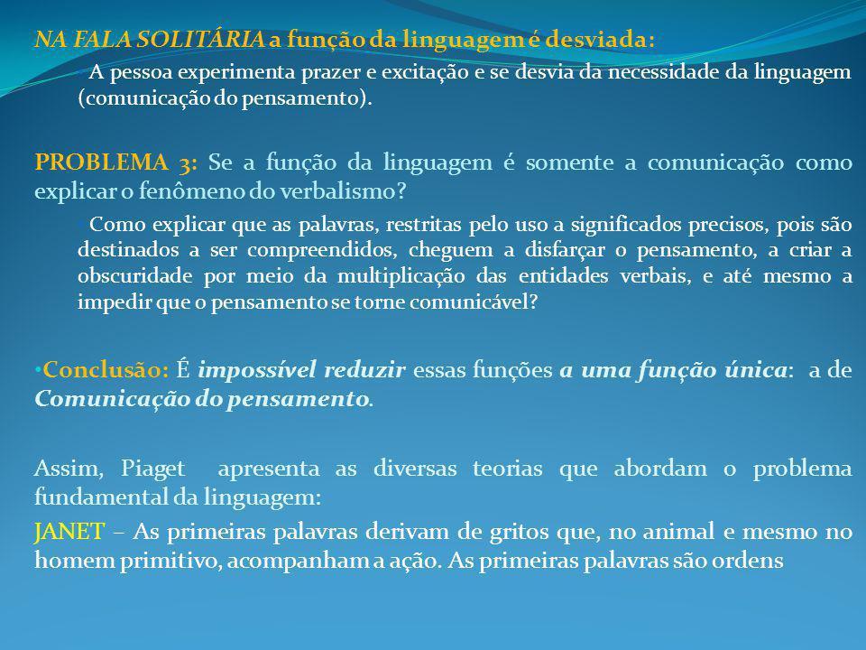 NA FALA SOLITÁRIA a função da linguagem é desviada: