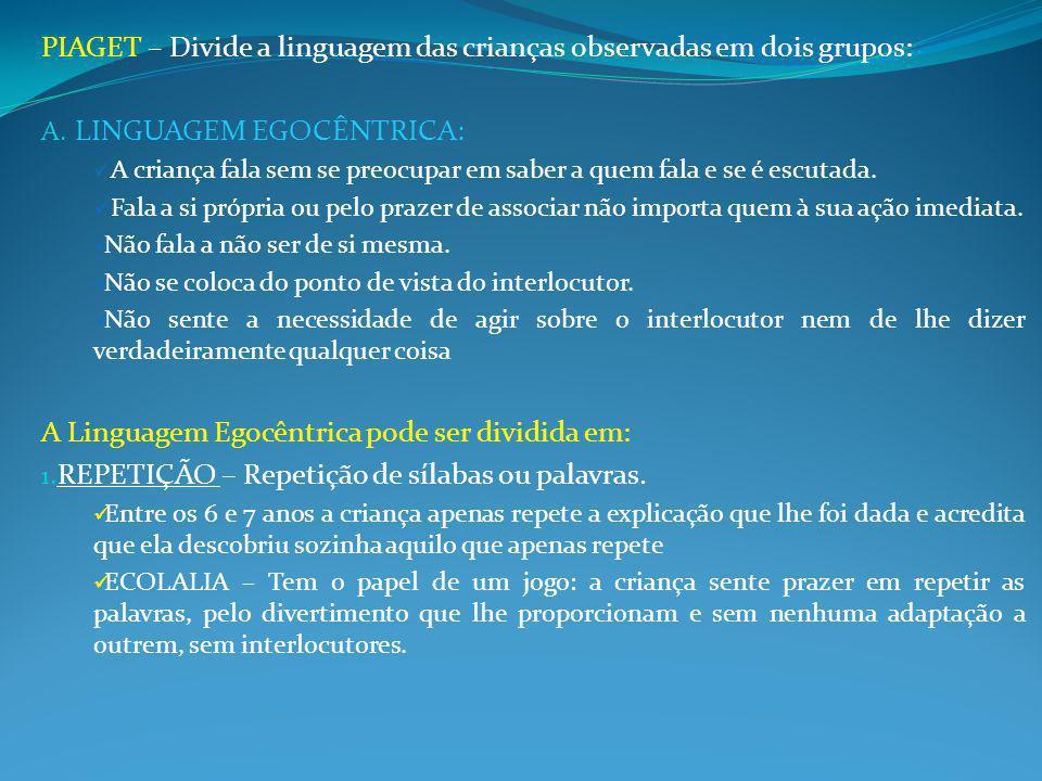 PIAGET – Divide a linguagem das crianças observadas em dois grupos: