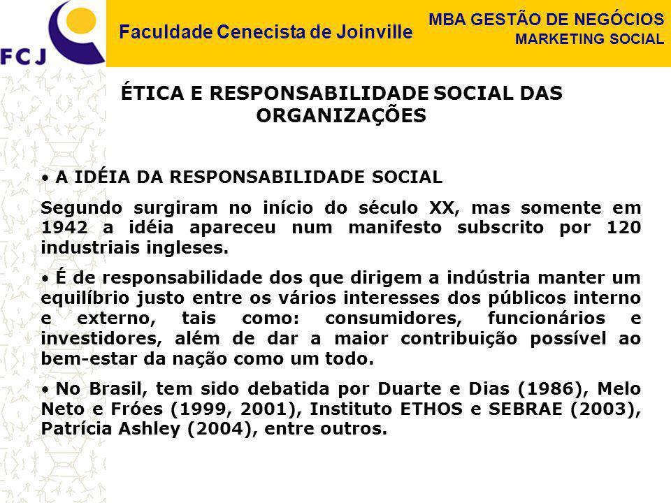 ÉTICA E RESPONSABILIDADE SOCIAL DAS ORGANIZAÇÕES
