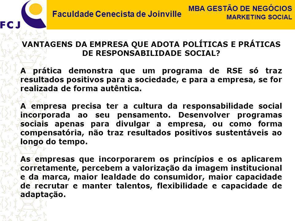 VANTAGENS DA EMPRESA QUE ADOTA POLÍTICAS E PRÁTICAS DE RESPONSABILIDADE SOCIAL