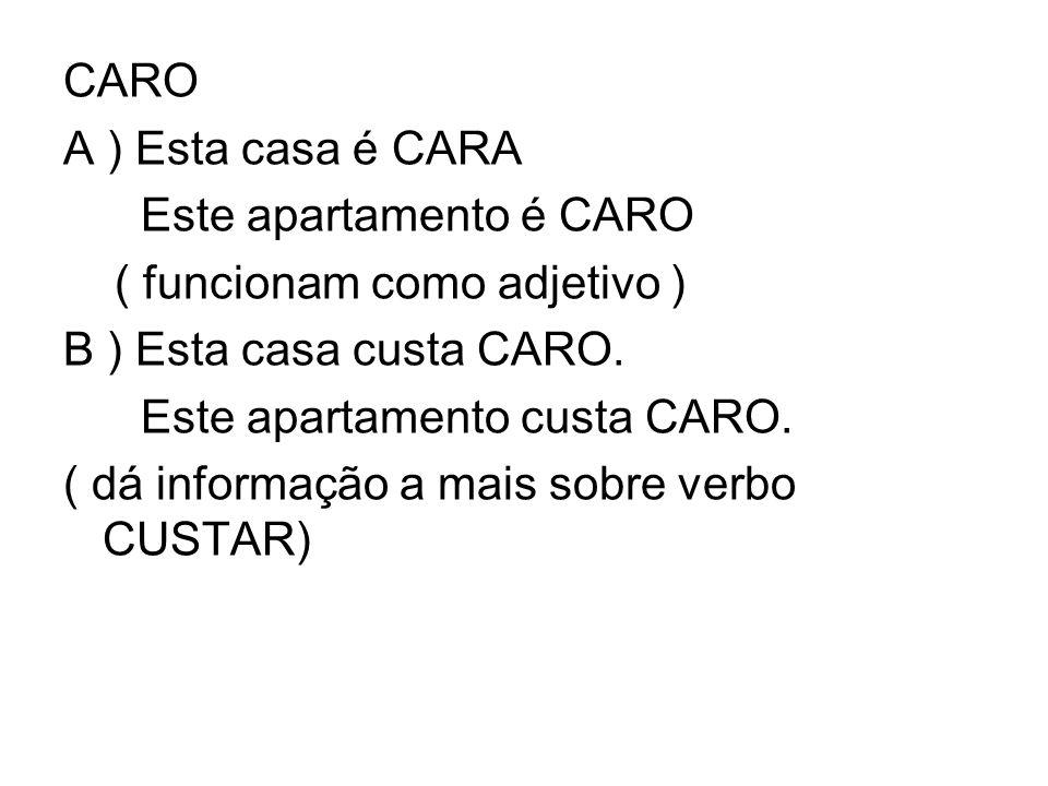 CARO A ) Esta casa é CARA. Este apartamento é CARO. ( funcionam como adjetivo ) B ) Esta casa custa CARO.