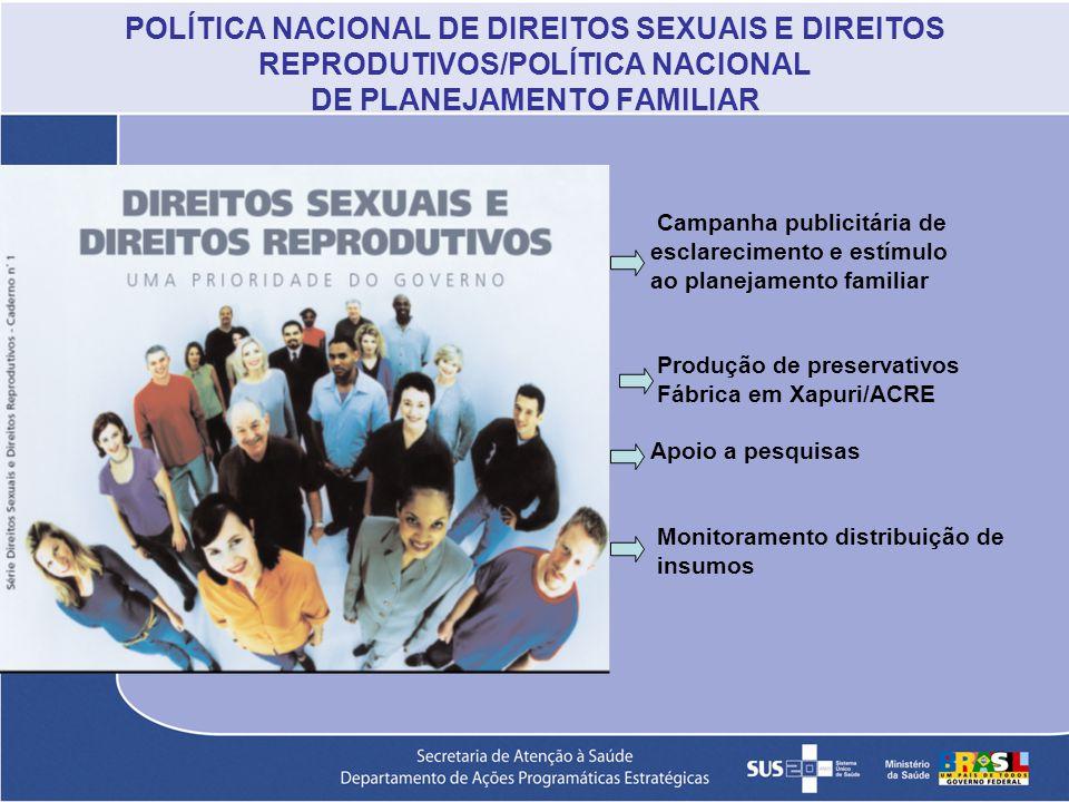 POLÍTICA NACIONAL DE DIREITOS SEXUAIS E DIREITOS REPRODUTIVOS/POLÍTICA NACIONAL DE PLANEJAMENTO FAMILIAR