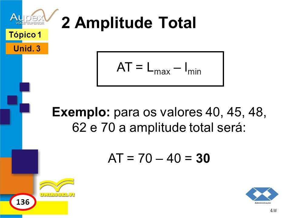 2 Amplitude Total Tópico 1. Unid. 3. AT = Lmax – lmin Exemplo: para os valores 40, 45, 48, 62 e 70 a amplitude total será: AT = 70 – 40 = 30.