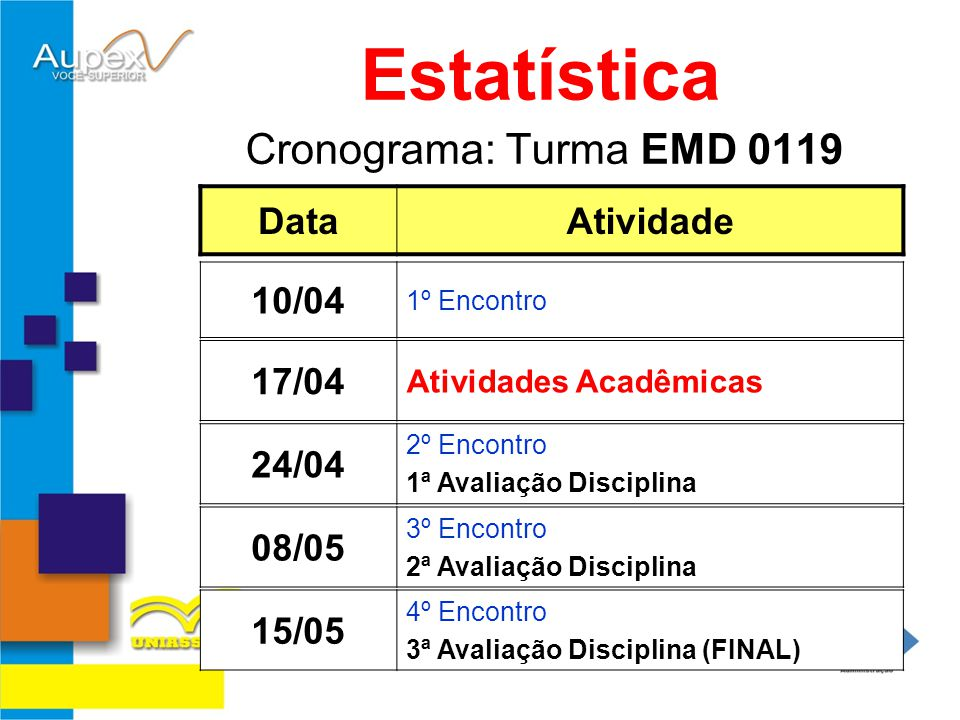 Estatística Cronograma: Turma EMD 0119 Data Atividade 10/04 17/04