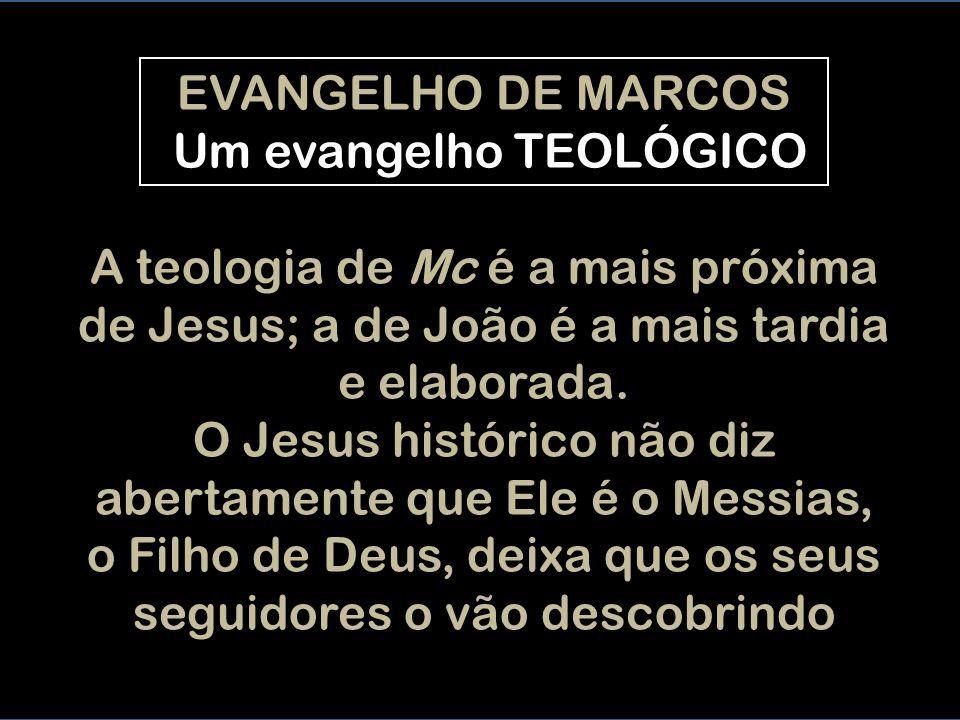 EVANGELHO DE MARCOS Um evangelho TEOLÓGICO