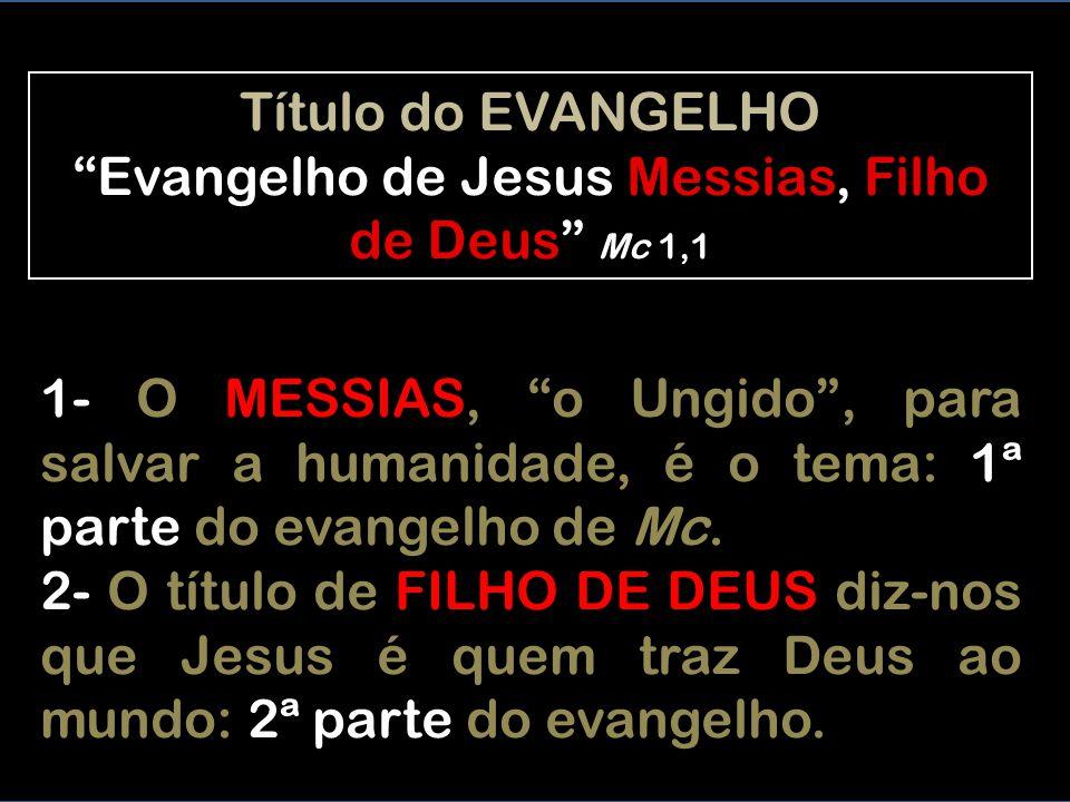 Título do EVANGELHO Evangelho de Jesus Messias, Filho de Deus Mc 1,1