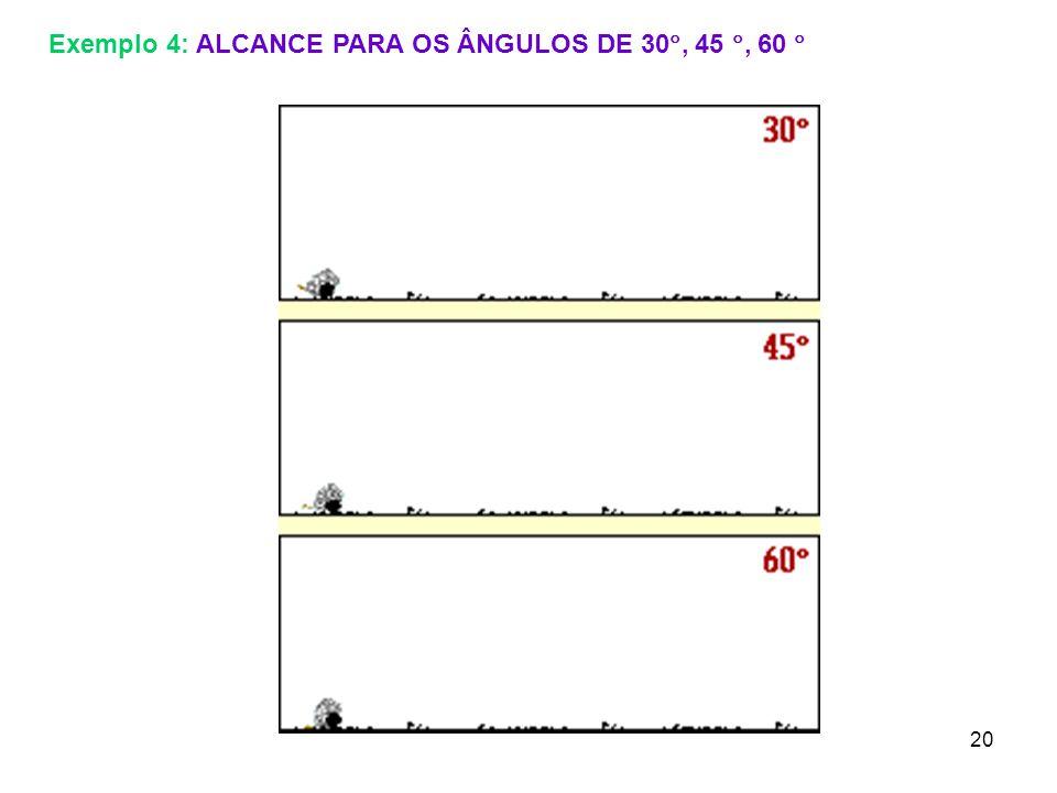 Exemplo 4: ALCANCE PARA OS ÂNGULOS DE 30, 45 , 60 