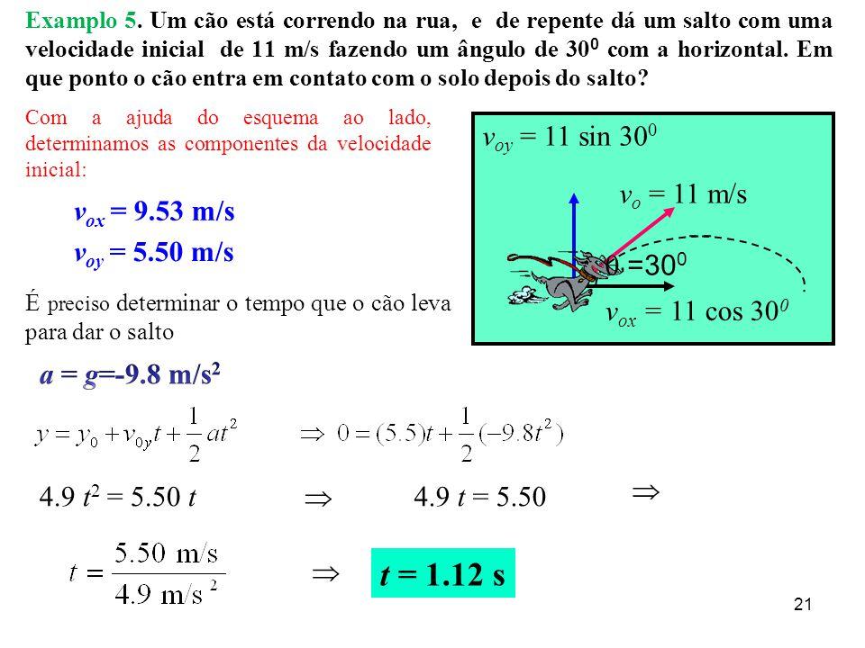 t = 1.12 s voy = 11 sin 300 vo = 11 m/s q =300 vox = 9.53 m/s