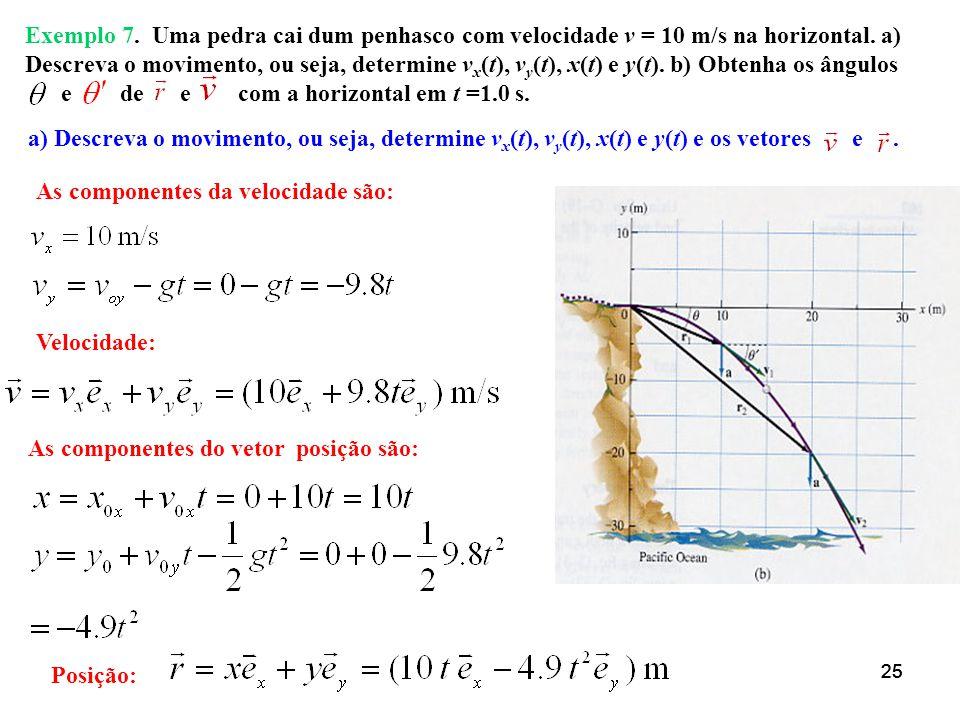e de e com a horizontal em t =1.0 s.