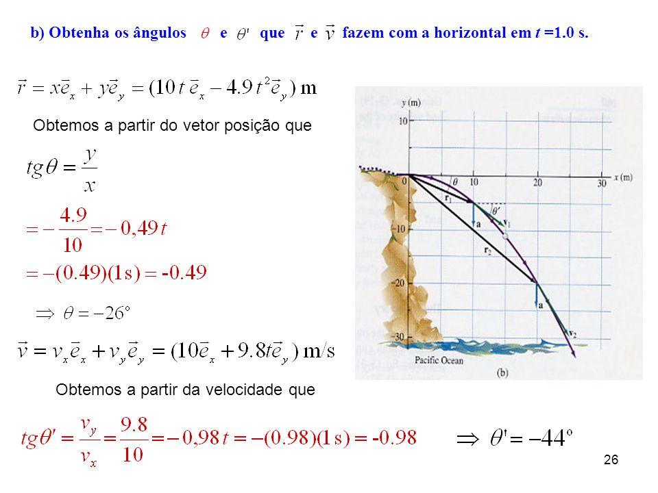 b) Obtenha os ângulos e que e fazem com a horizontal em t =1.0 s.