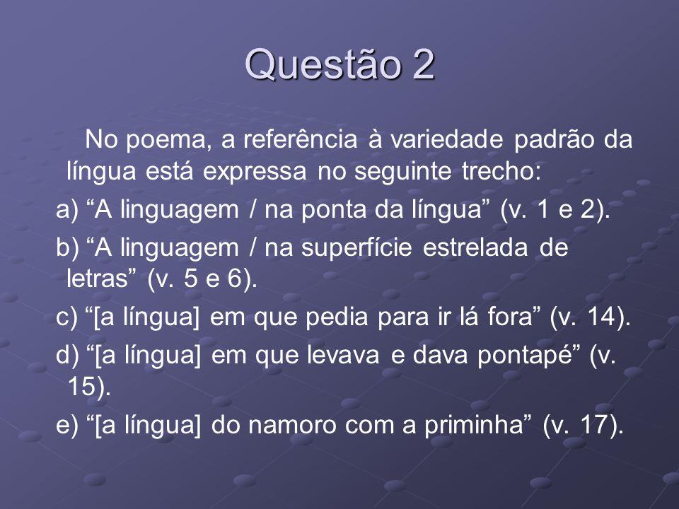 Questão 2 No poema, a referência à variedade padrão da língua está expressa no seguinte trecho: a) A linguagem / na ponta da língua (v. 1 e 2).