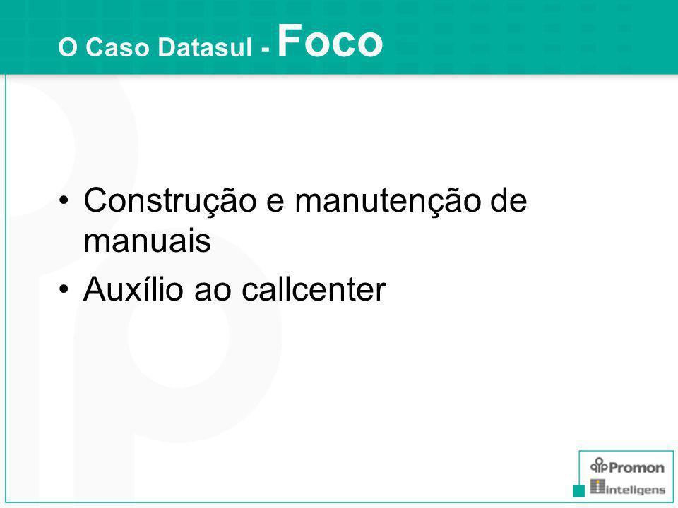 Construção e manutenção de manuais Auxílio ao callcenter