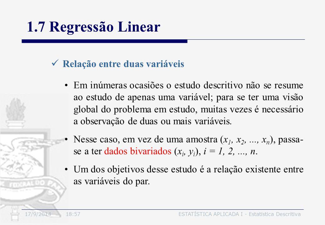 1.7 Regressão Linear Relação entre duas variáveis
