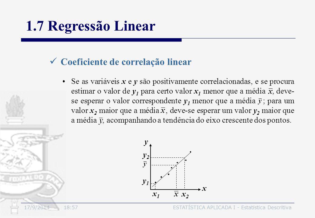 1.7 Regressão Linear Coeficiente de correlação linear