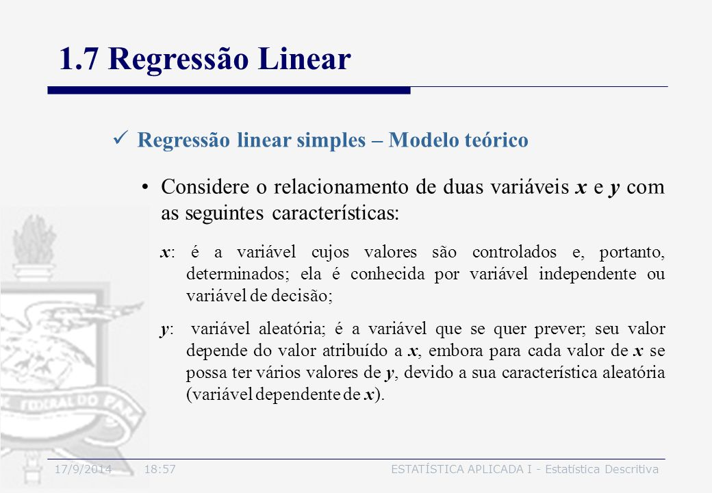 1.7 Regressão Linear Regressão linear simples – Modelo teórico