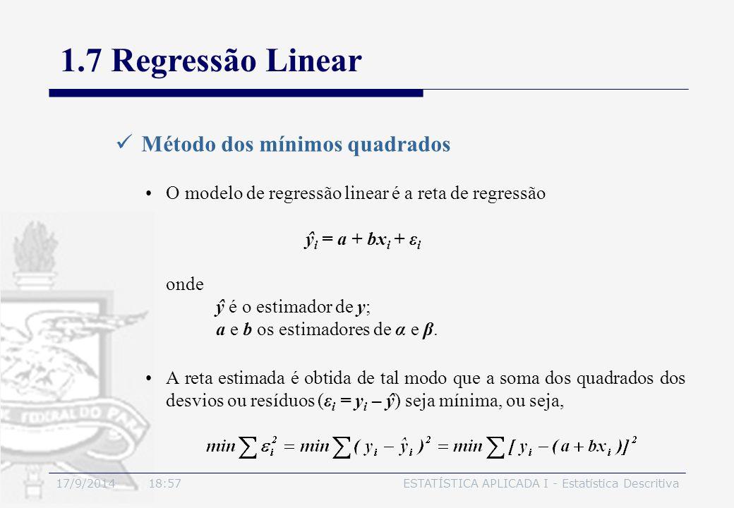 1.7 Regressão Linear Método dos mínimos quadrados