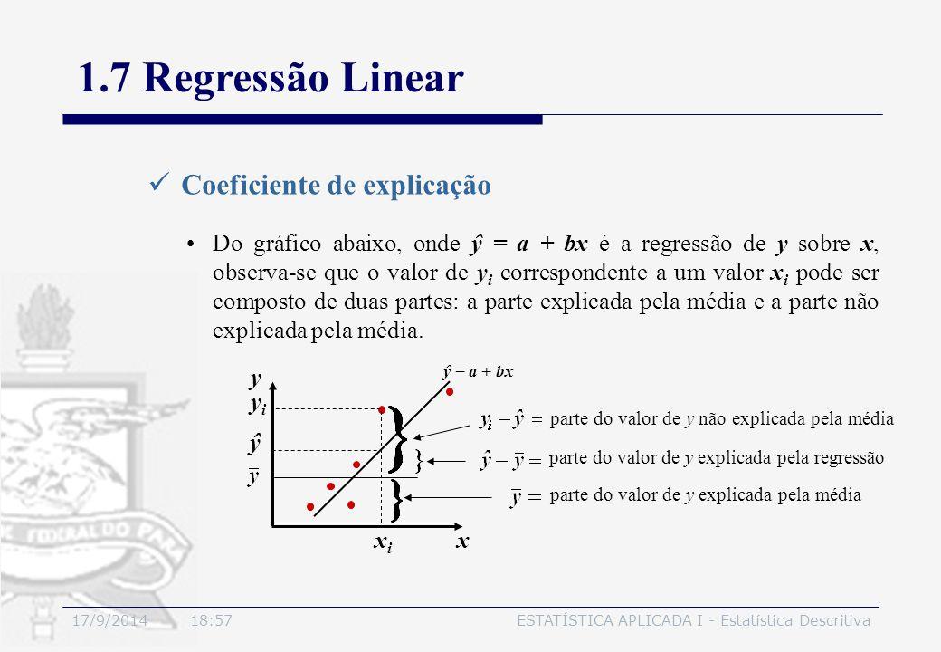 1.7 Regressão Linear Coeficiente de explicação