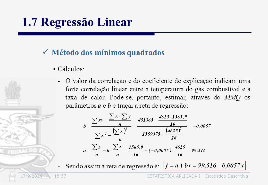 1.7 Regressão Linear Método dos mínimos quadrados Cálculos: