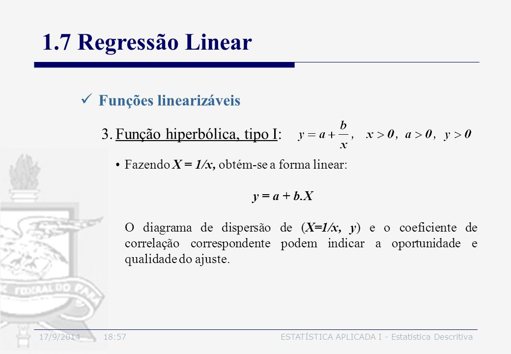 1.7 Regressão Linear Funções linearizáveis Função hiperbólica, tipo I: