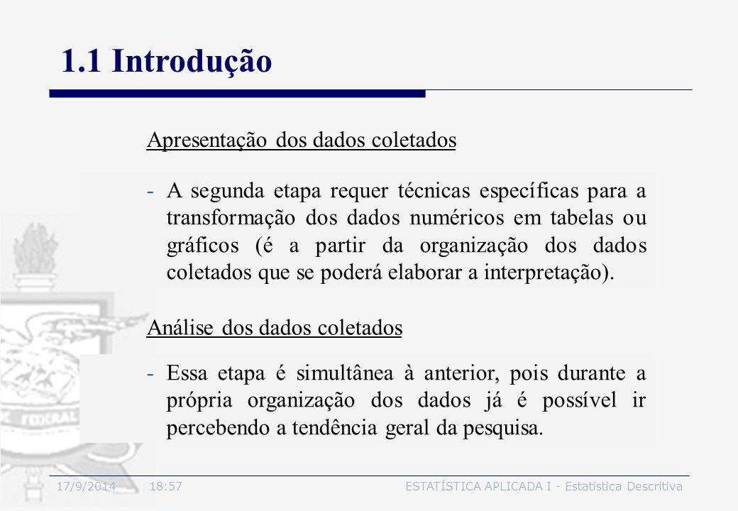 1.1 Introdução Apresentação dos dados coletados