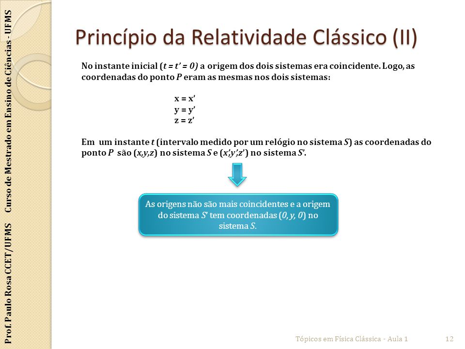 Princípio da Relatividade Clássico (II)