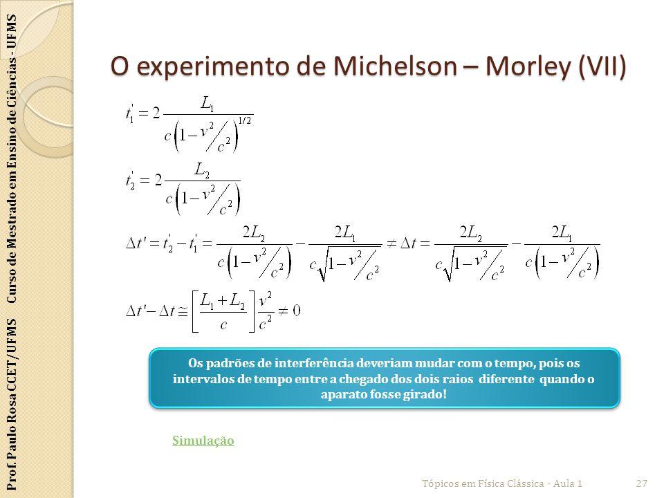 O experimento de Michelson – Morley (VII)