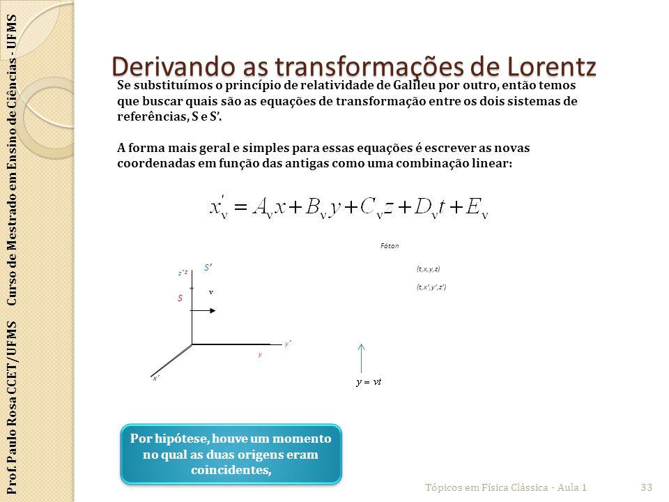 Derivando as transformações de Lorentz