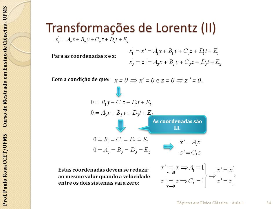Transformações de Lorentz (II)