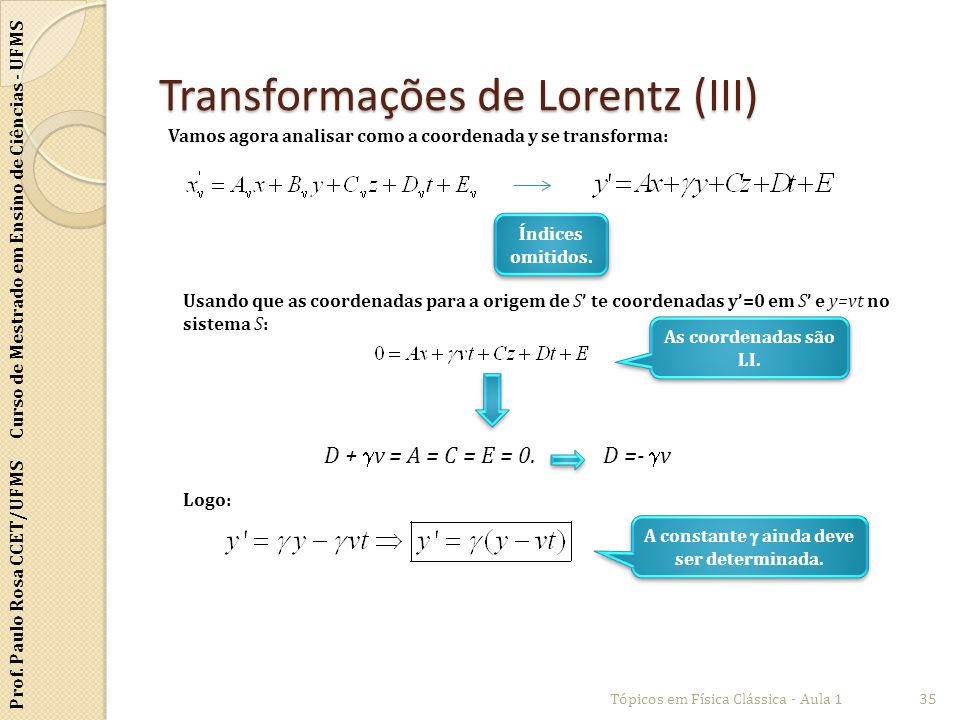 Transformações de Lorentz (III)