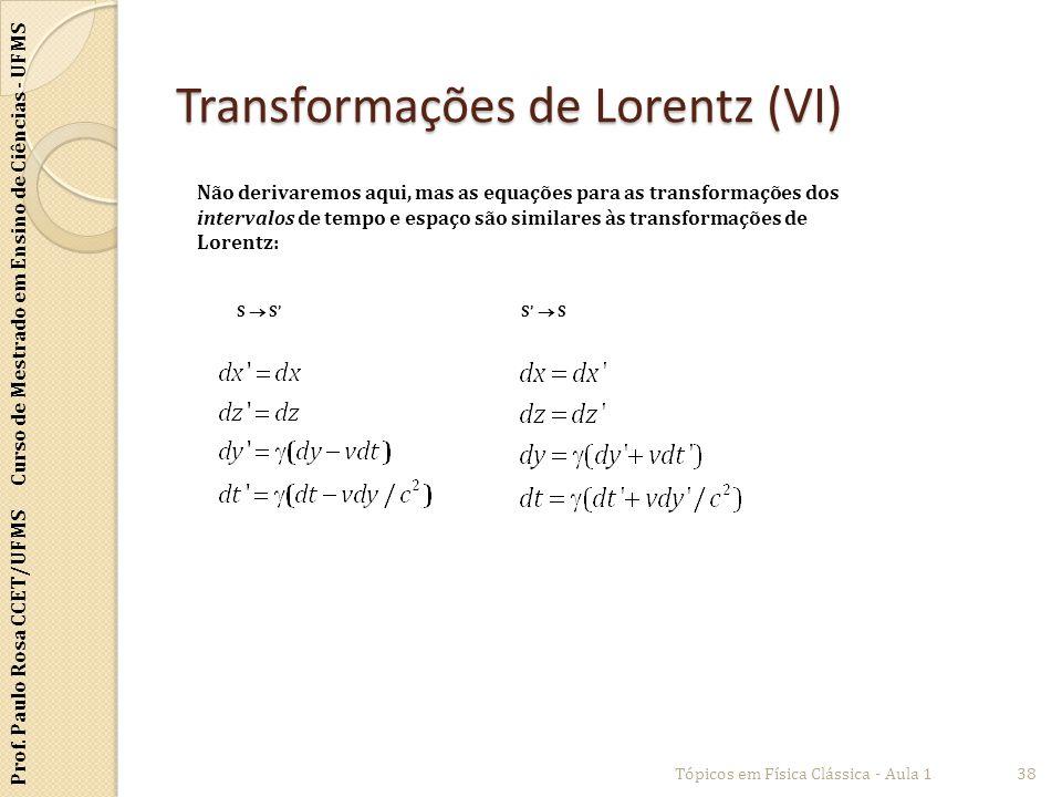 Transformações de Lorentz (VI)