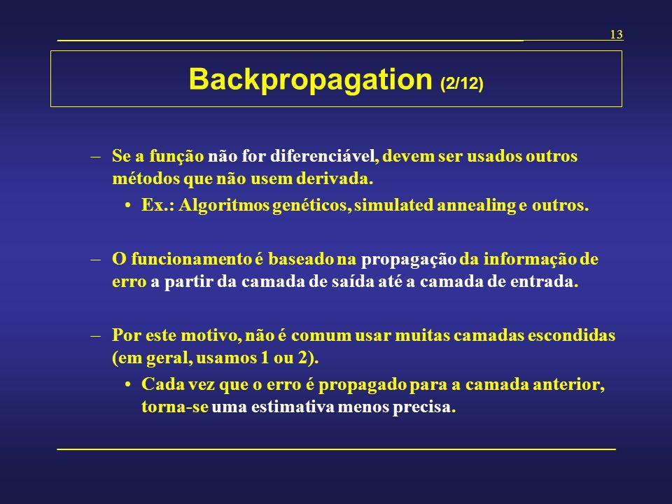 Backpropagation (2/12) Se a função não for diferenciável, devem ser usados outros métodos que não usem derivada.