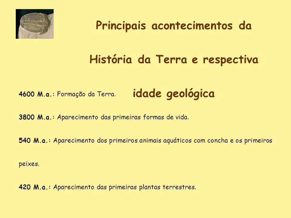 Principais acontecimentos da História da Terra e respectiva idade geológica