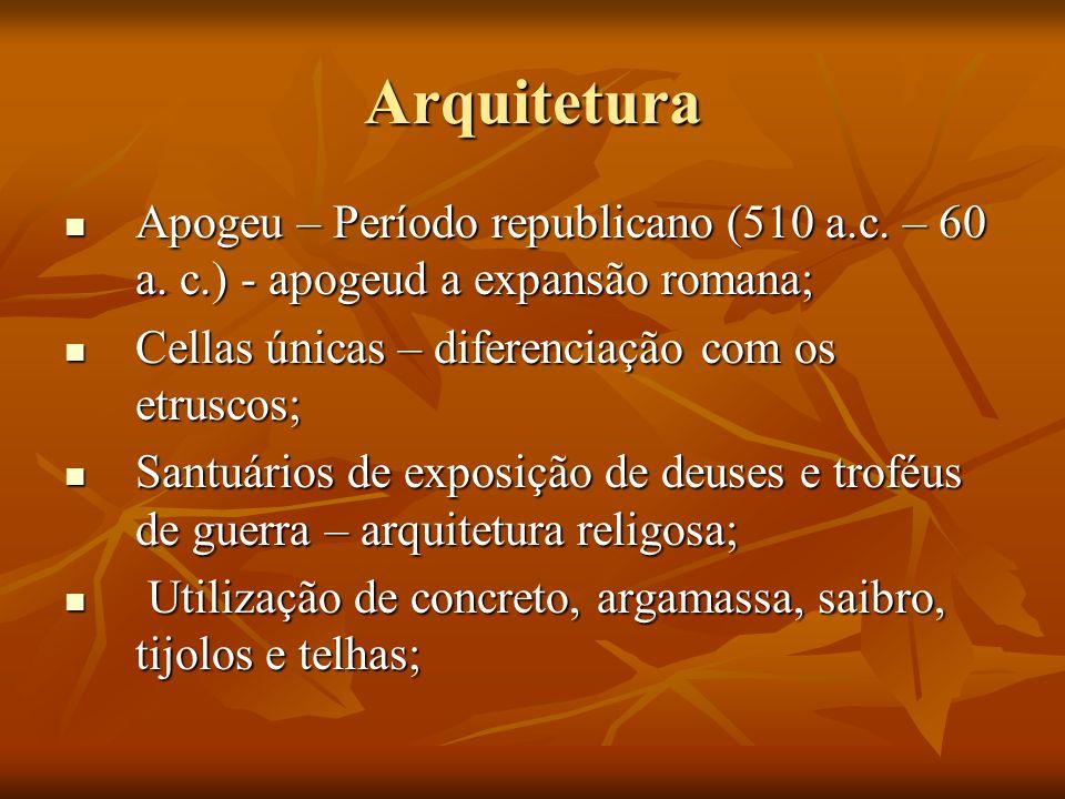 Arquitetura Apogeu – Período republicano (510 a.c. – 60 a. c.) - apogeud a expansão romana; Cellas únicas – diferenciação com os etruscos;