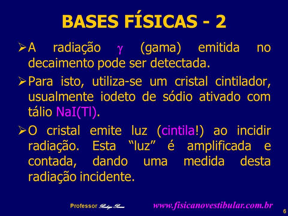 BASES FÍSICAS - 2 A radiação  (gama) emitida no decaimento pode ser detectada.