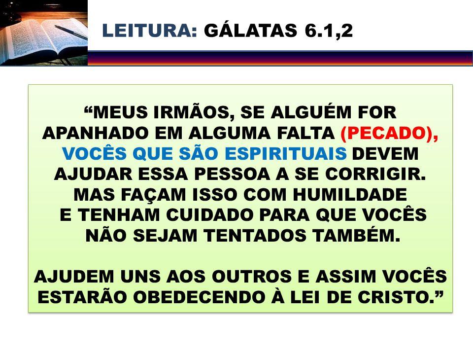 LEITURA: GÁLATAS 6.1,2 MEUS IRMÃOS, SE ALGUÉM FOR APANHADO EM ALGUMA FALTA (PECADO),