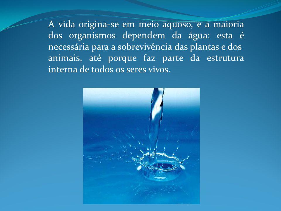 A vida origina-se em meio aquoso, e a maioria dos organismos dependem da água: esta é necessária para a sobrevivência das plantas e dos