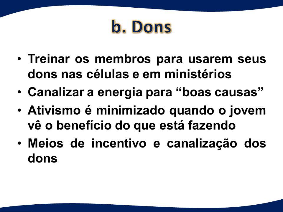 b. Dons Treinar os membros para usarem seus dons nas células e em ministérios. Canalizar a energia para boas causas