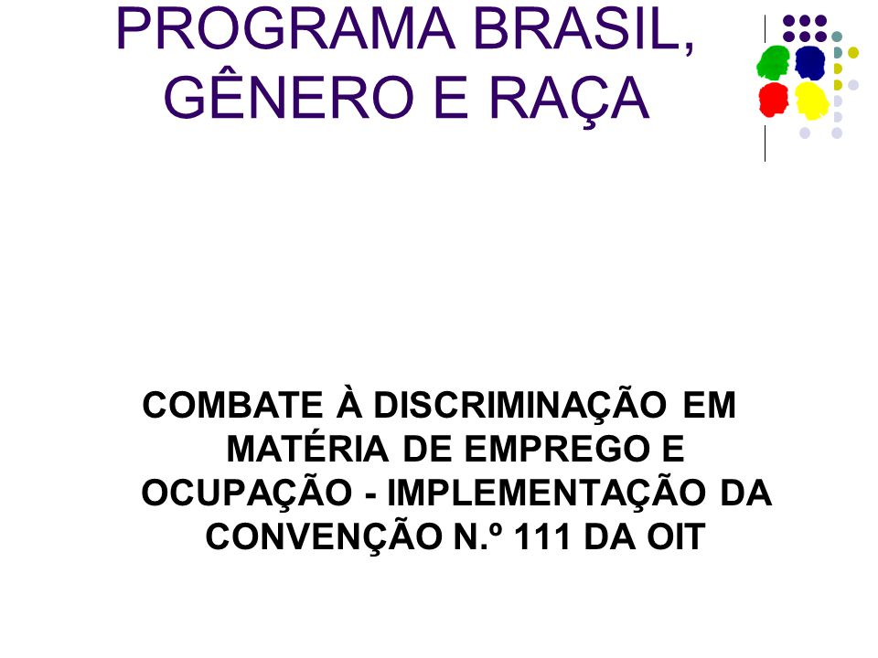 PROGRAMA BRASIL, GÊNERO E RAÇA