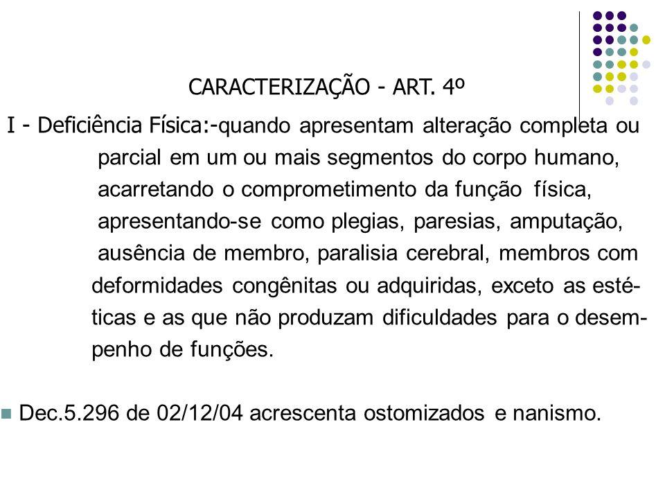 CARACTERIZAÇÃO - ART. 4º I - Deficiência Física:-quando apresentam alteração completa ou. parcial em um ou mais segmentos do corpo humano,