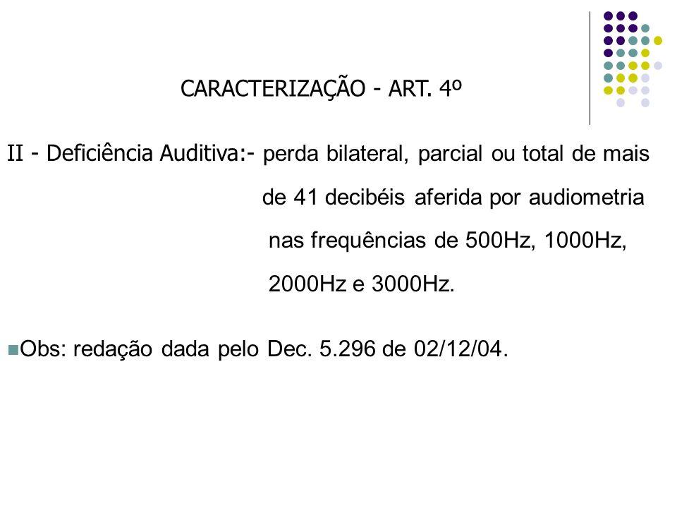 CARACTERIZAÇÃO - ART. 4º II - Deficiência Auditiva:- perda bilateral, parcial ou total de mais. de 41 decibéis aferida por audiometria.
